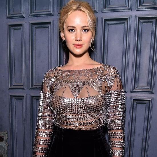 Jennifer Lawrence Wearing Sheer Silver Top