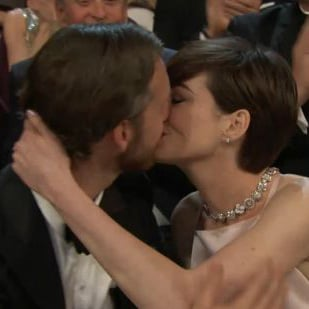 Anne Hathaway Kissing Adam Shulman at Oscars GIF