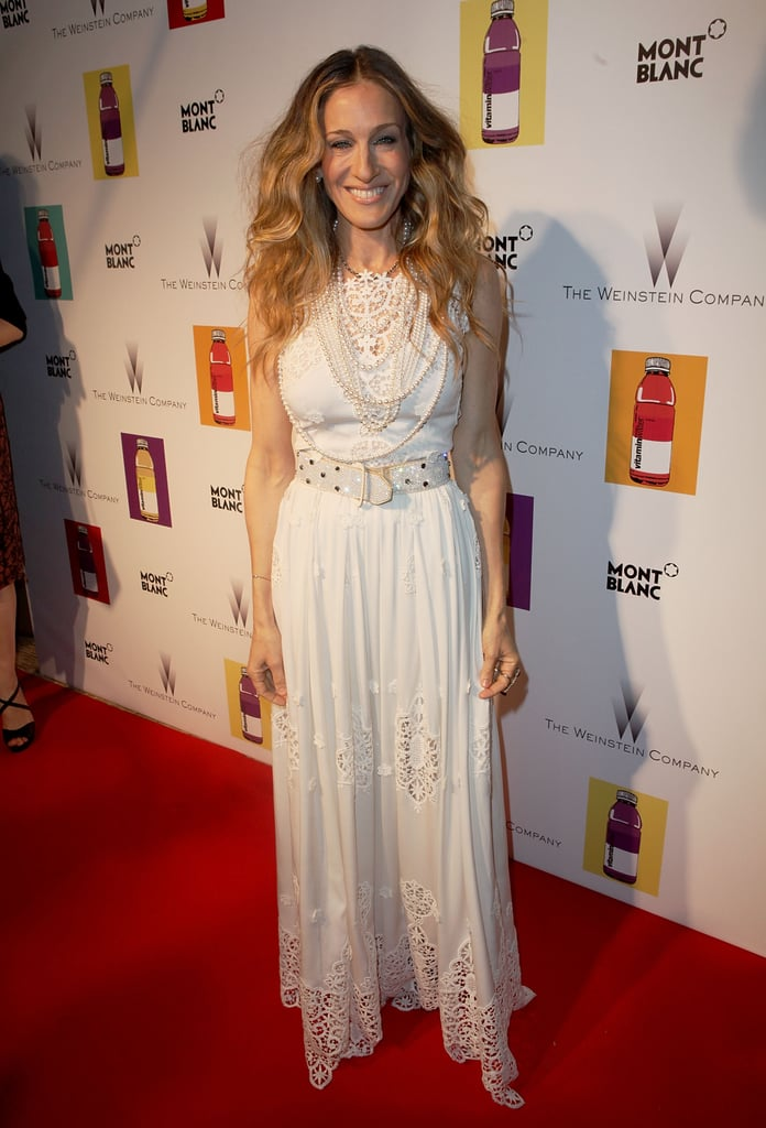 At the 2011 Cannes Film Festival, SJP went Summer chic in a white Dolce & Gabbana maxi dress with beautiful embroidered details and layers of dazzling pearl strands.