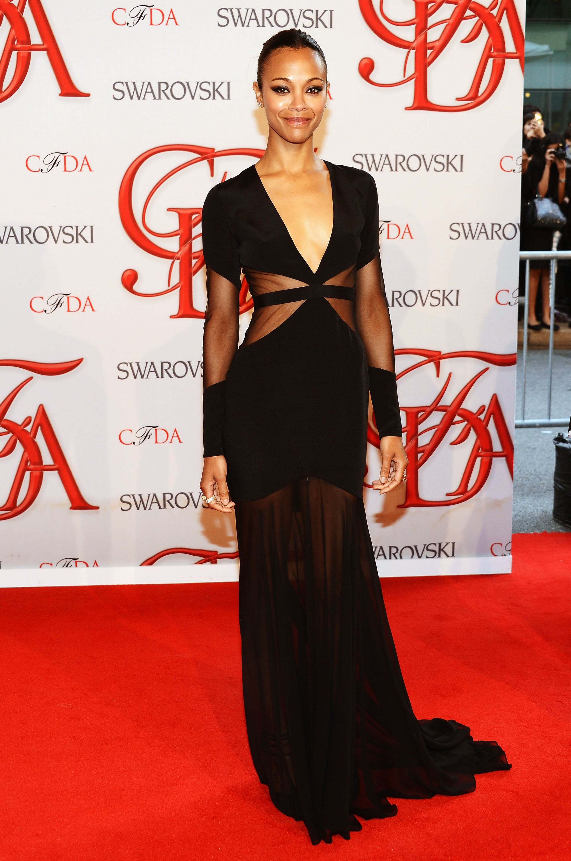Zoe was the picture of sexy sophistication in this sheer cutout-infused Prabal Gurung creation at the 2012 CFDA Awards.