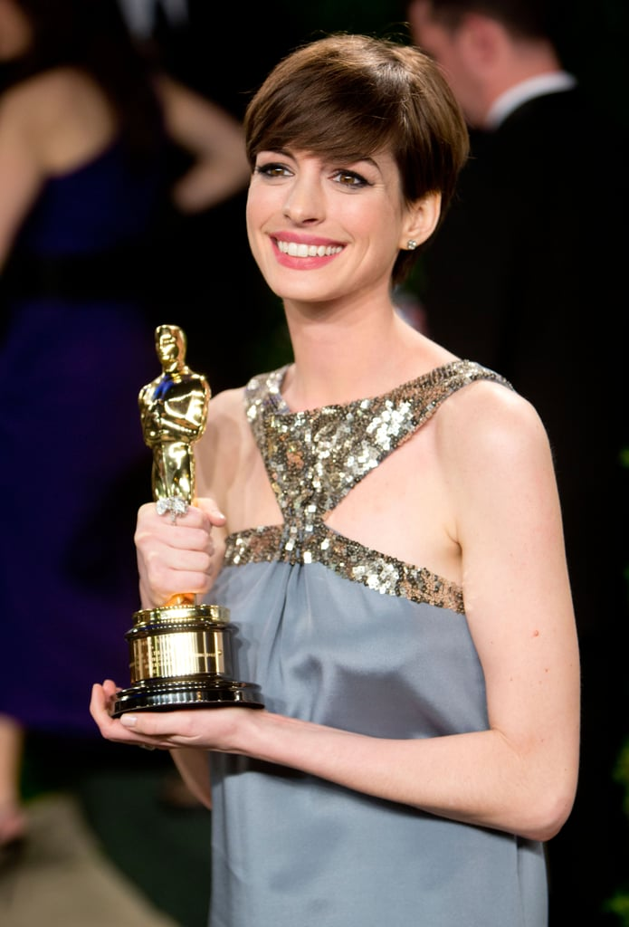Anne Hathaway arrived at the Vanity Fair Oscar party.