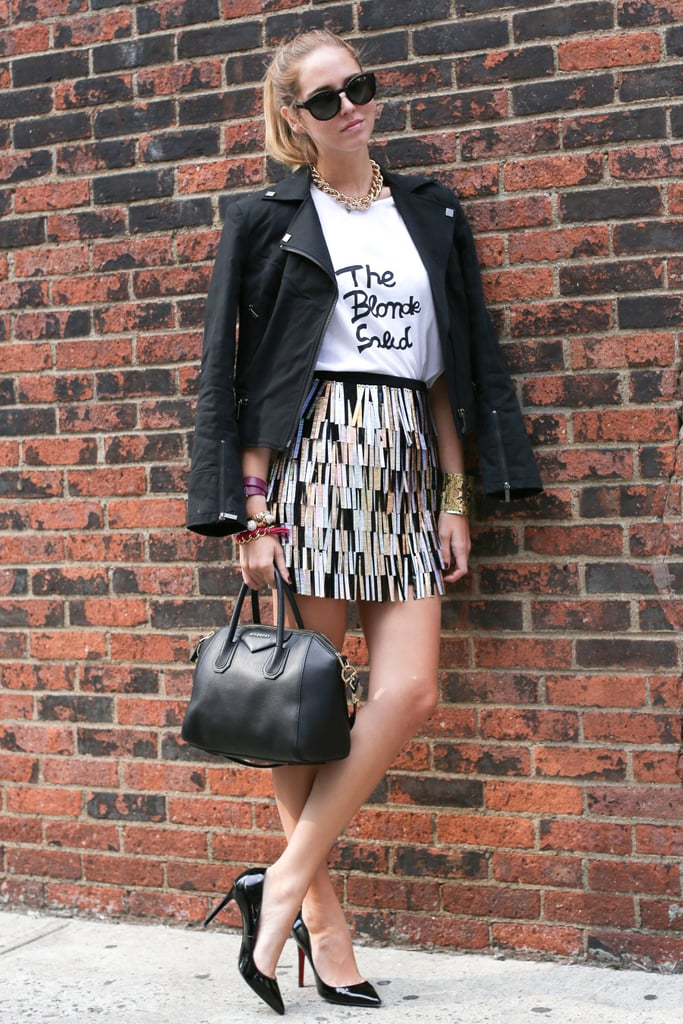 Glam gets a cool-girl twist with a printed tee and a leather jacket.