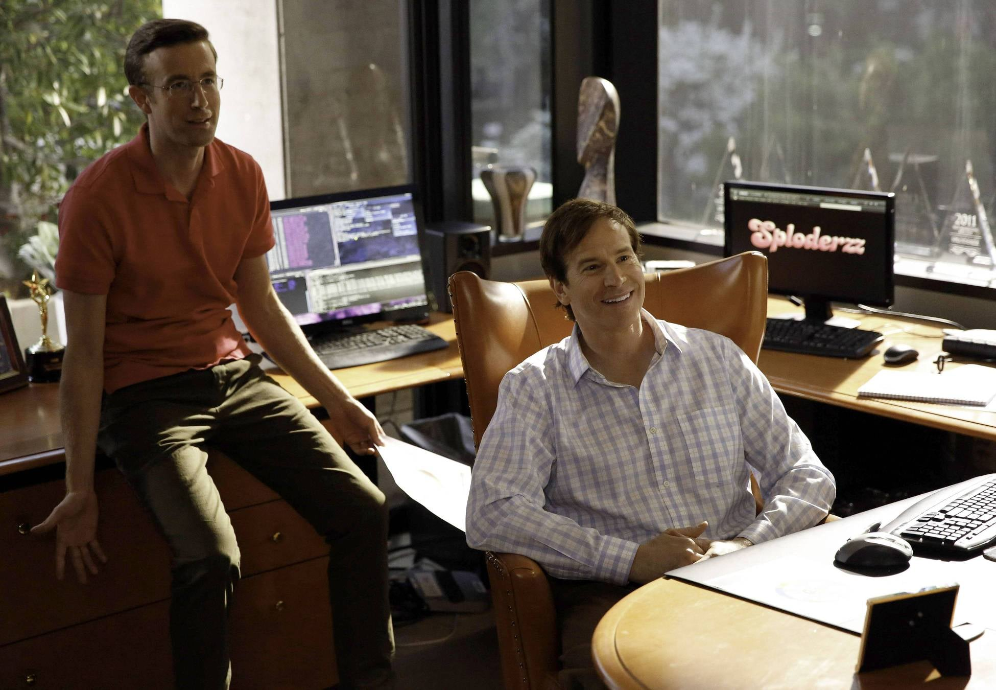 Rob Huebel and Matt Oberg guest-star in the episode as the owners of Sploderzz.com.
