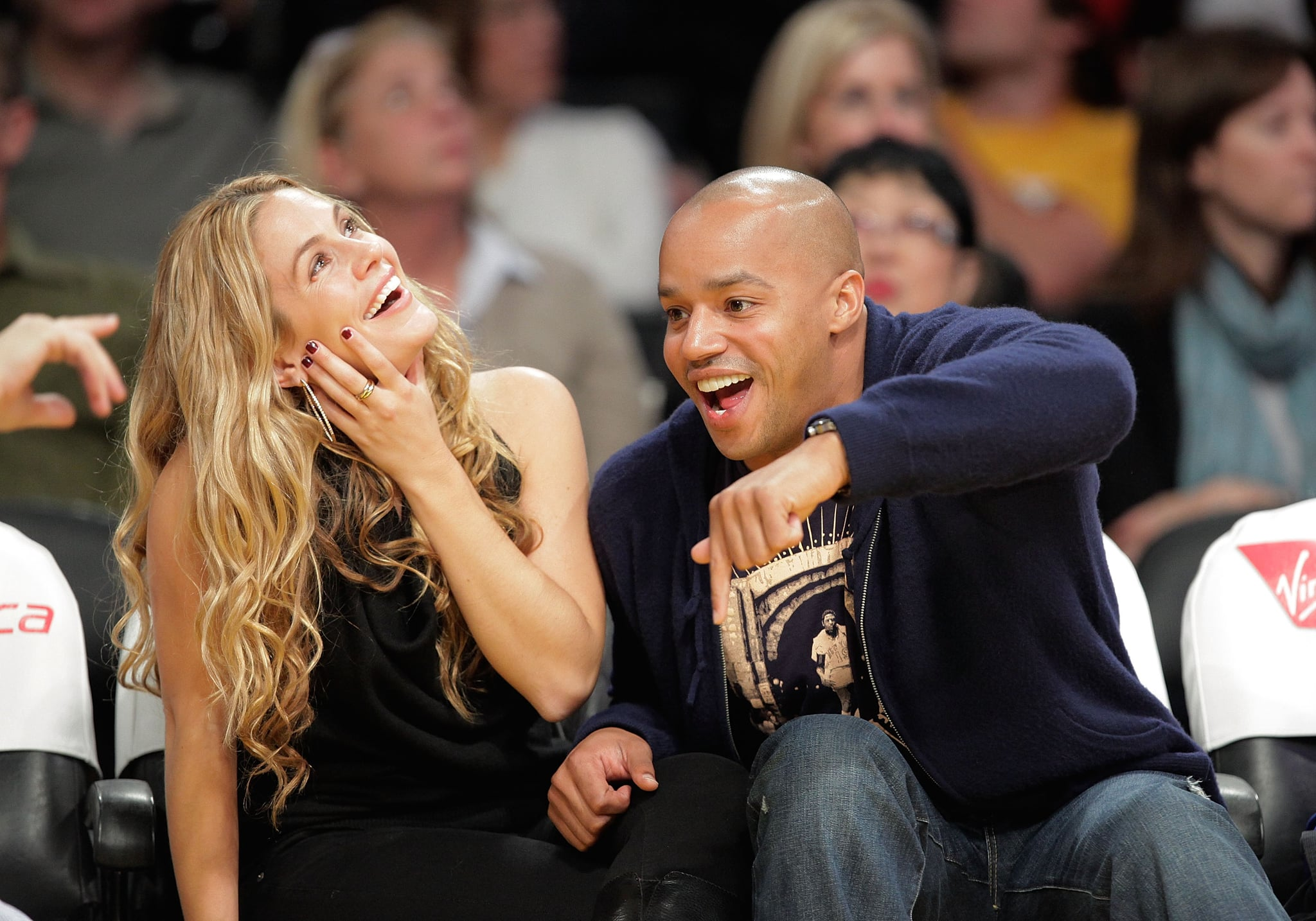 CaCee Cobb and Donald Faison attended a Lakers game at the Staples Center in November 2009.