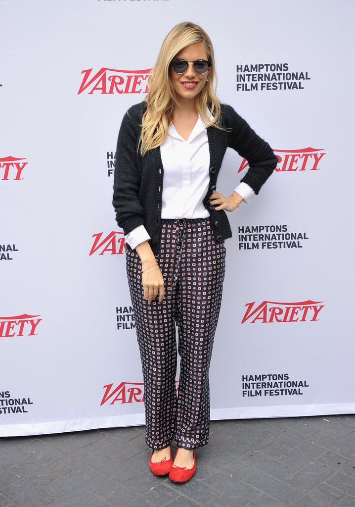 Sienna Miller hit the Hamptons International Film Festival with a charming play on printed pants.