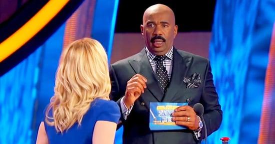 Watch Steve Harvey's Reaction to Kellie Pickler Almost Falling on 'Celebrity Family Feud'