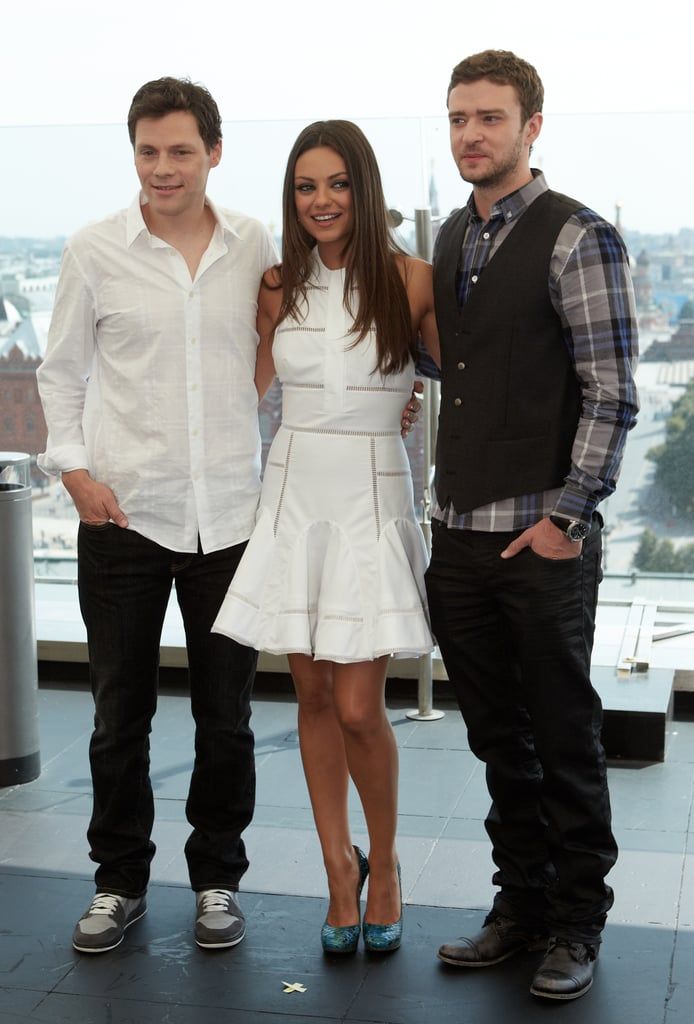Justin Timberlake and Mila Kunis at a photo call with Will Gluck.