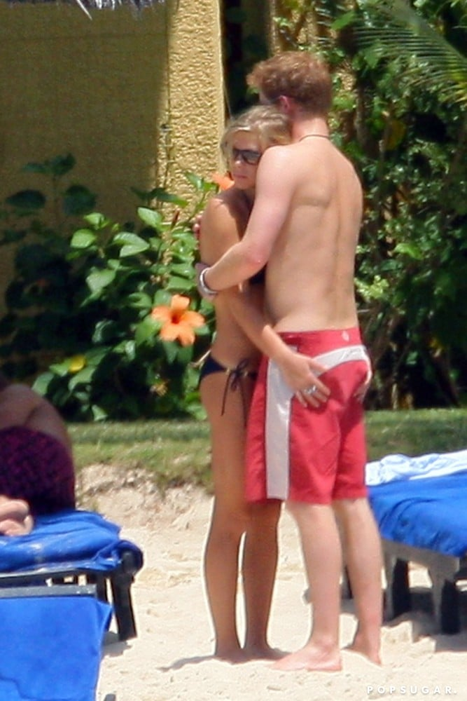 Chelsy Davy hugged Prince Harry during a December 2008 trip to Mauritius Island.