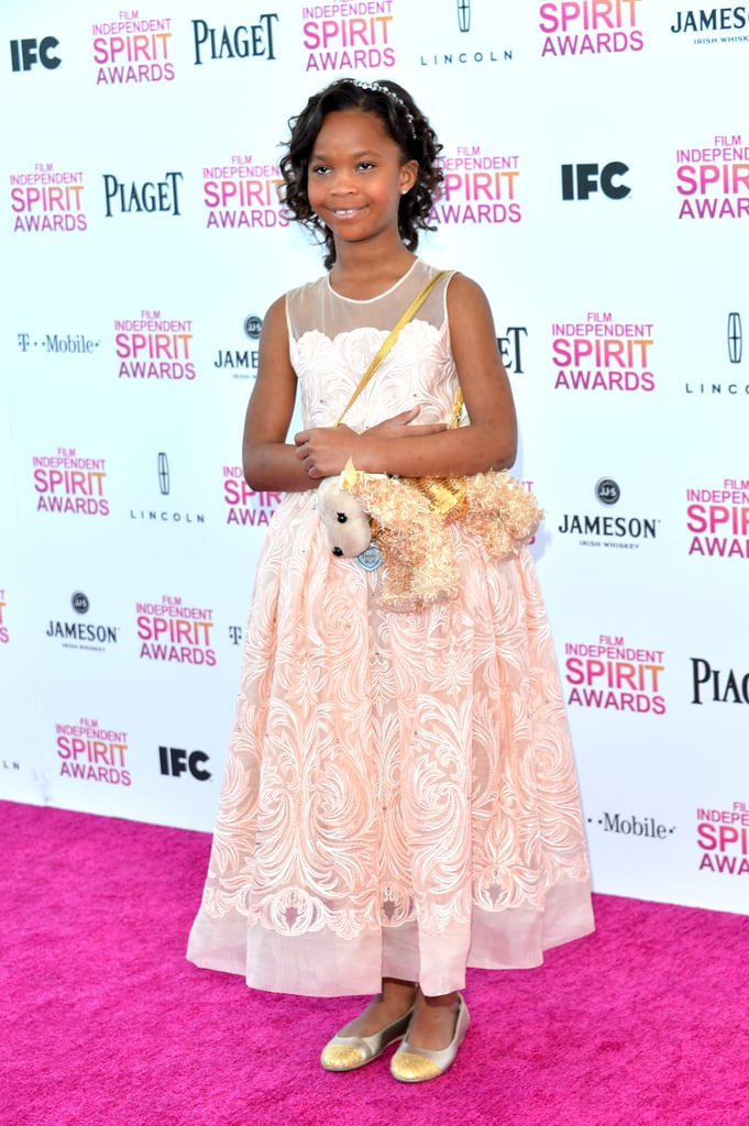 Quvenzhane Wallis on the red carpet at the Spirit Awards 2013.