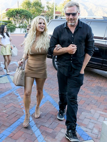 Jessica Simpson Sizzles in Skin-Tone Micro Mini for Hot Date Night with Eric Johnson