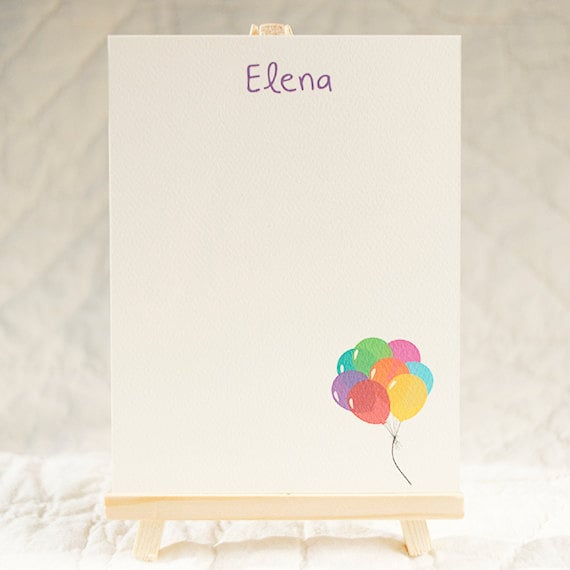 Colorful balloons bring charming style to these personalized cards ($15 for a set of 10).