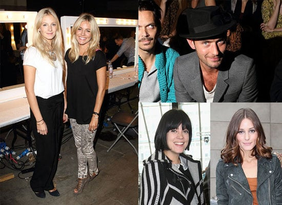 Jude Law, Sienna Miller, Agyness Deyn, Pregnant Lily Allen at London Fashion Week Spring 2011