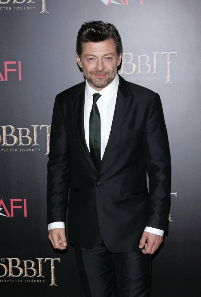 Andy Serkis wore a black suit.