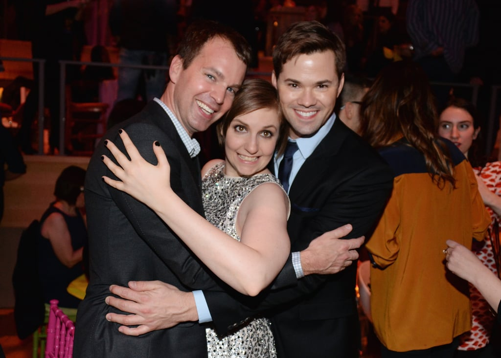 Lena was sandwiched between Andrew Rannells and HBO executive vice president Casey Bloys.
