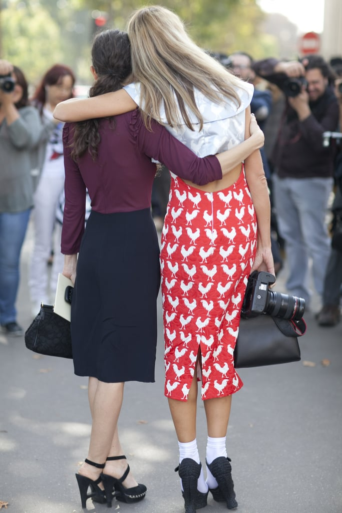 A pencil skirt that makes a lot of noise? Covered in a cheeky rooster print, of course.