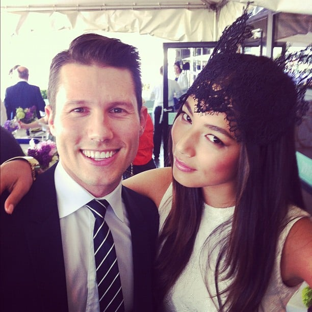 Jason Dundas and Jessica Gomes kept close, looked pretty at the Caulfield Cup. Source: Instagram user katewaterhouse7