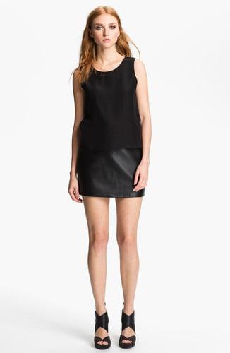 Parker 'Grace' Silk & Leather Blouson Dress