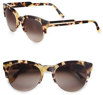 Stella McCartney Acetate & Metal Cat's-Eye Sunglasses/Yellow Tortoise