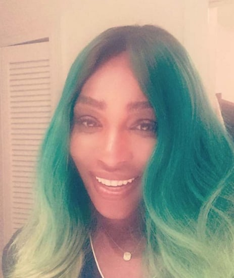 Serena Williams With Green Blue Hair