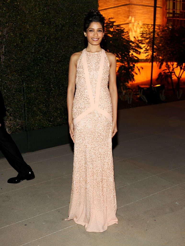 Rounding out the ultrastylish guest list at Ferragamo's LA bash, Freida Pinto looked lovely in the label's pastel column.