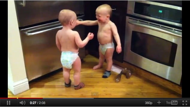 This outtake of twin boys having an entire (apparently hysterical) conversation in baby talk burned up the web earlier this year. Jayrandall22011's video confirms the theory that twins understand each other on a much deeper level than we can possibly understand.