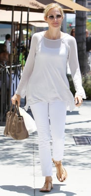 Kelly Rutherford Wearing White Jeans and Hermes Bag in Beverly Hills
