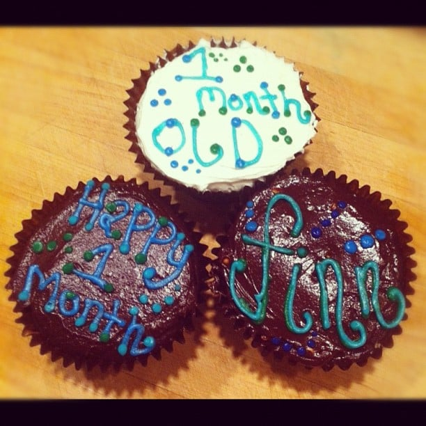 Tori Spelling celebrated baby Finn's one-month birthday with cupcakes. Source: Instagram user torianddean