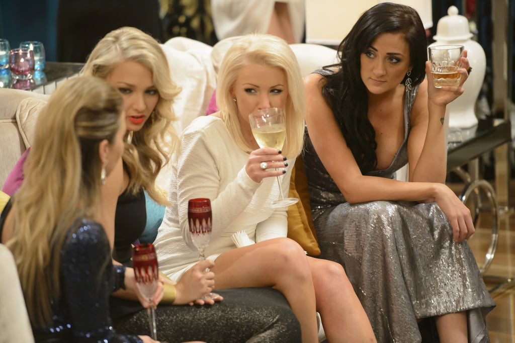 The girls meet at the first cocktail party.