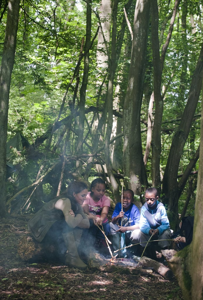 Kate Middleton started a campfire with children from Expanding Horizons primary school outdoor camp.