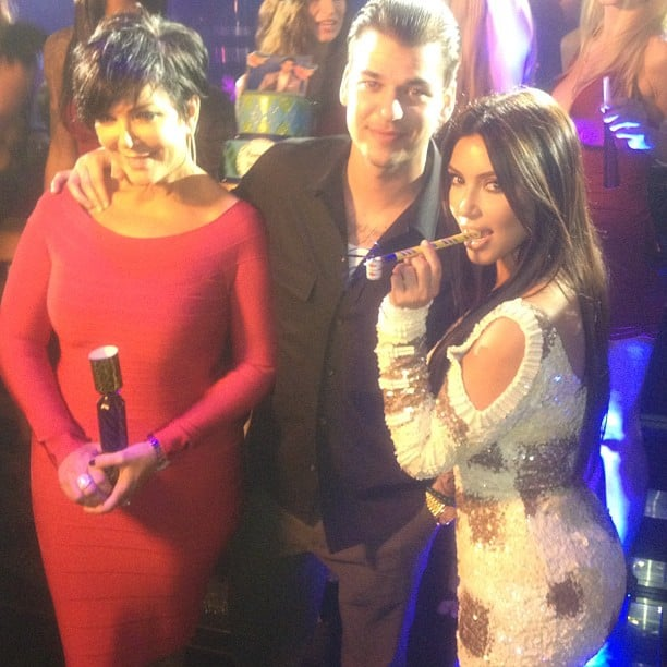 Kim Kardashian joined her mother, Kris Jenner, and brother Rob at his birthday party. Source: Instagram user kimkardashian