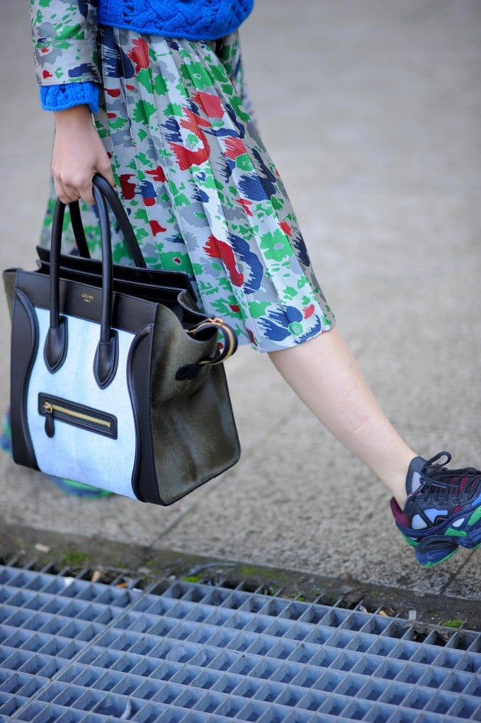 She made bright florals, rainbow-colored kicks, and a black and white Céline bag all work in one look.  Source: Gorunway.com/Matteo Catena
