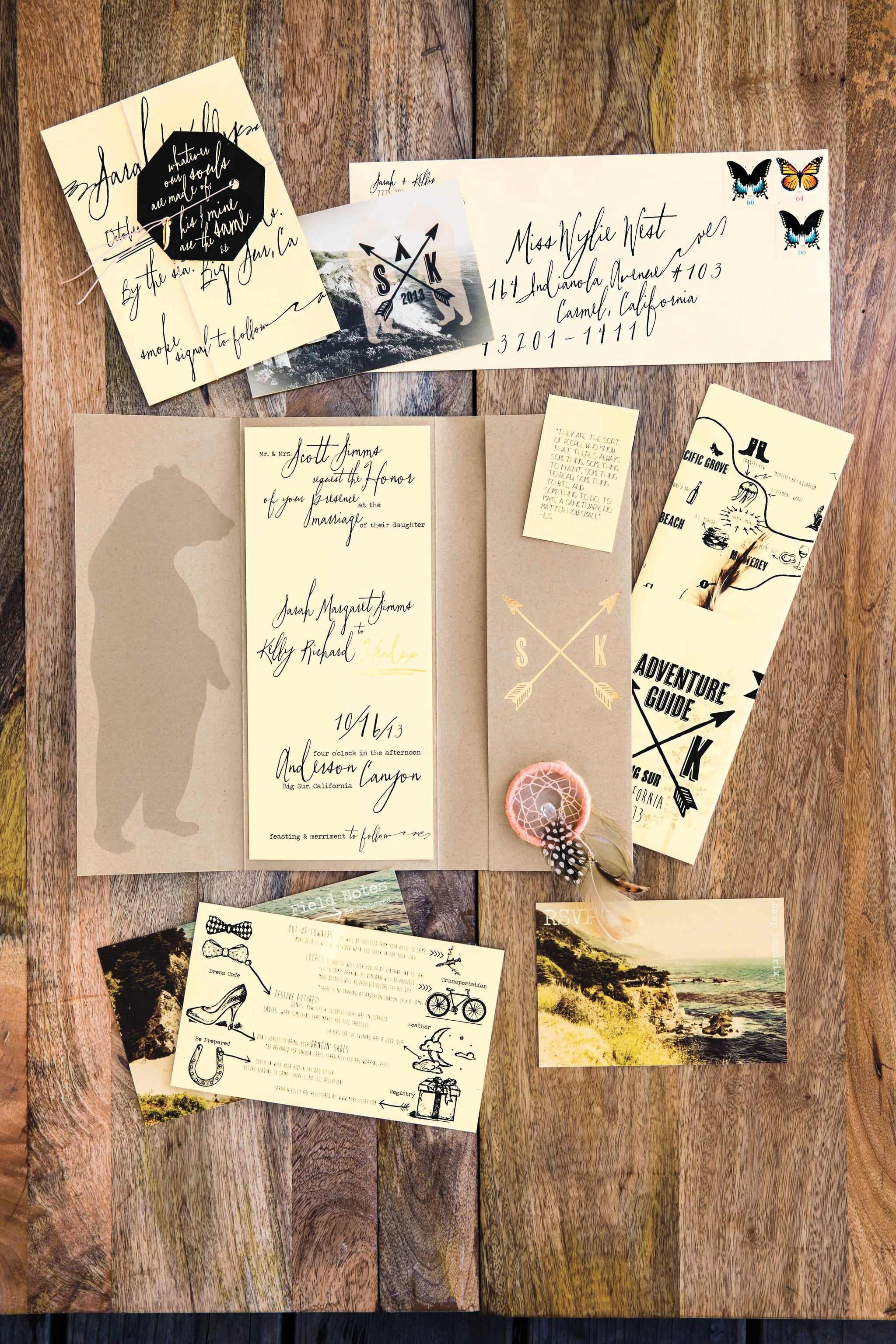 Vintage postcard-inspired invites and a hand-drawn map