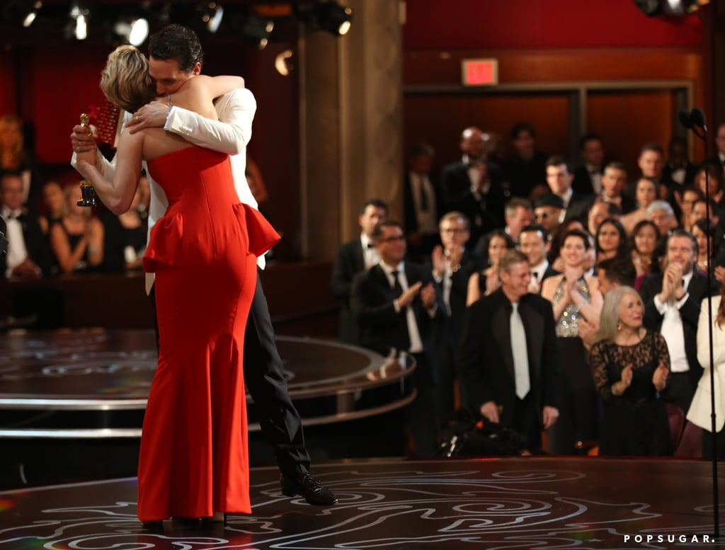 Matthew McConaughey got a huge hug from Jennifer Lawrence after she presented him with the statue for best actor.