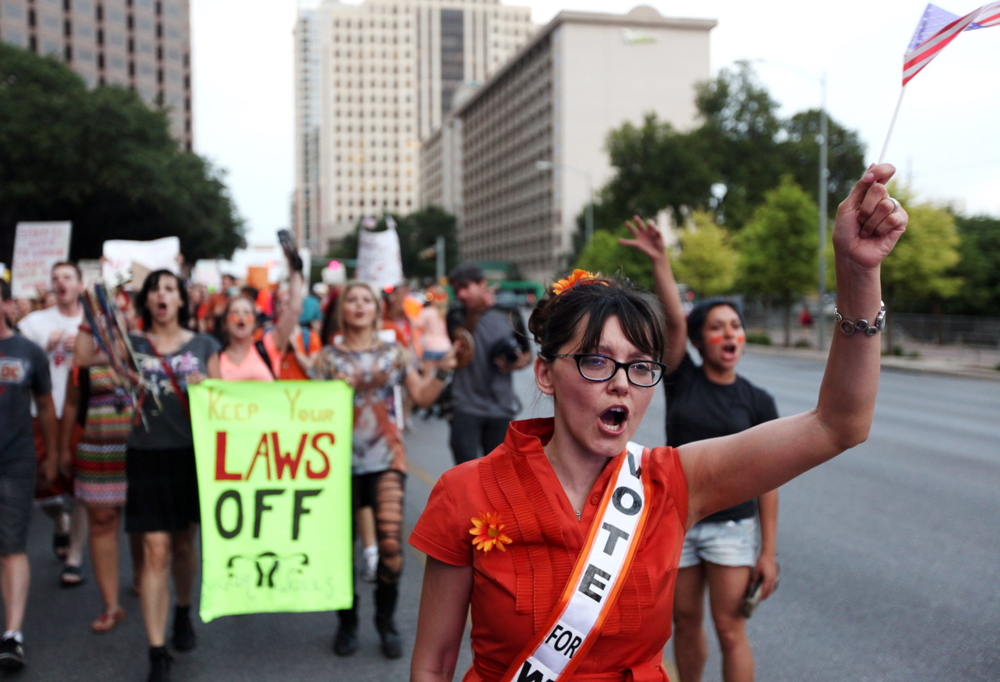 Pro-choice protesters marched along Austin's Congress ...