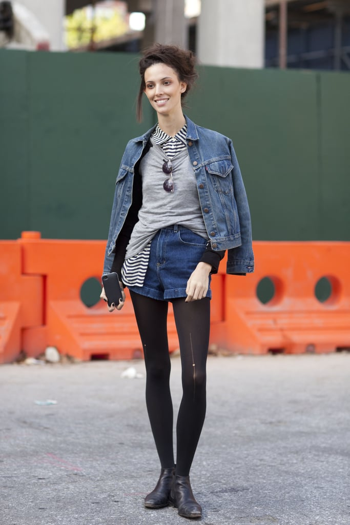 Look to Ruby Aldridge's example for an easy way to warm up your denim shorts. Source: Adam Katz Sinding