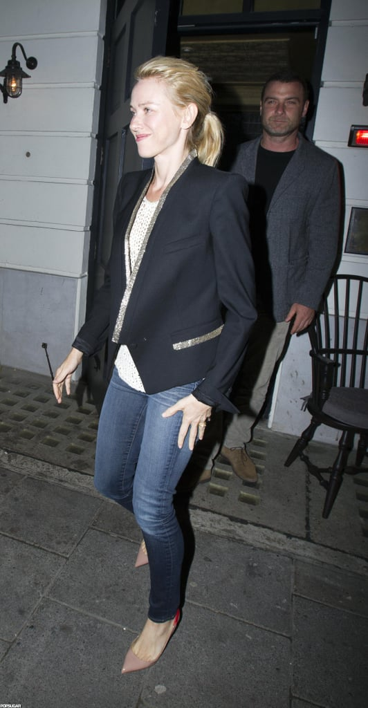Naomi Watts tied her hair back in a ponytail for the evening.