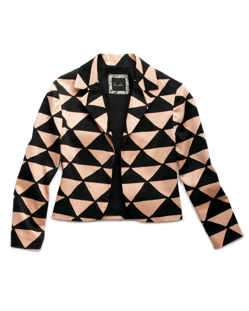 We love the bold graphic print on Kelly Wearstler's cropped tanzanite jacket ($138, originally $395).