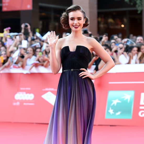 Lily Collins Wearing Ombré Elie Saab Gown in Rome