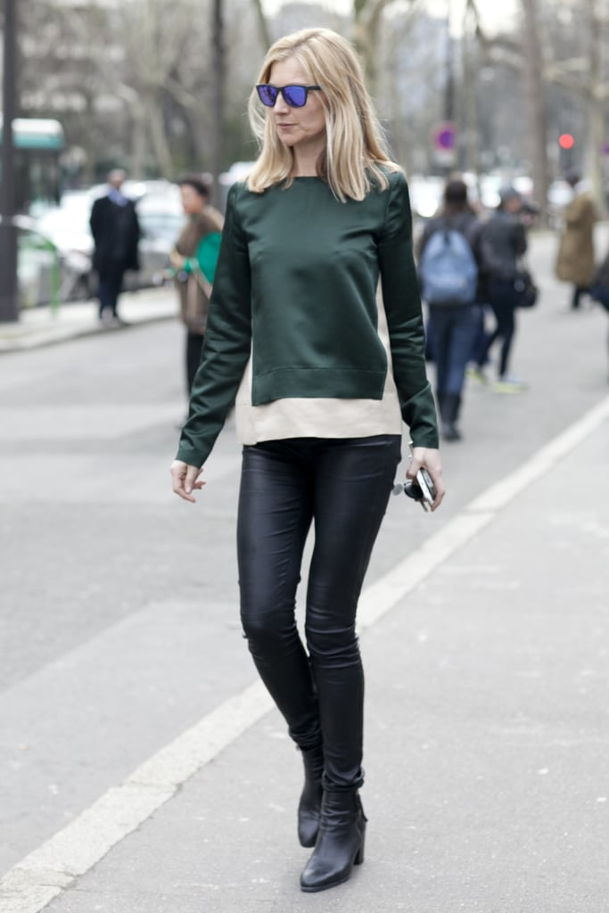 A rich green hue played brilliantly off of sleek black bottoms.