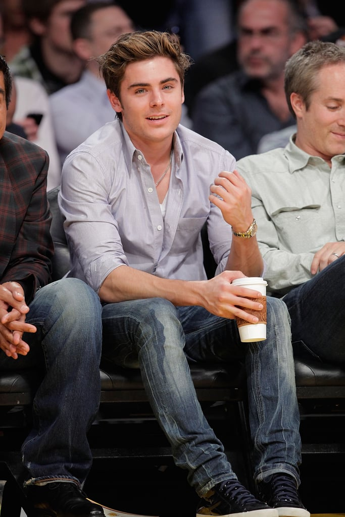 Photos of Zac Efron and Heather Locklear at the Lakers Game
