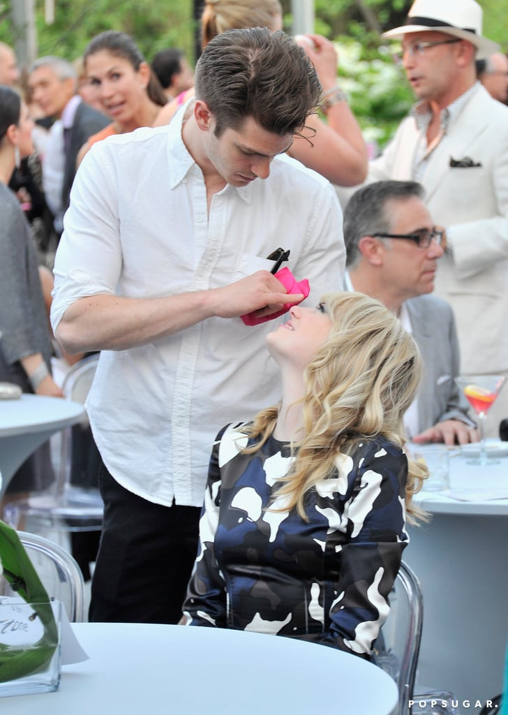 Emma Stone and Andrew Garfield played around during the benefit.