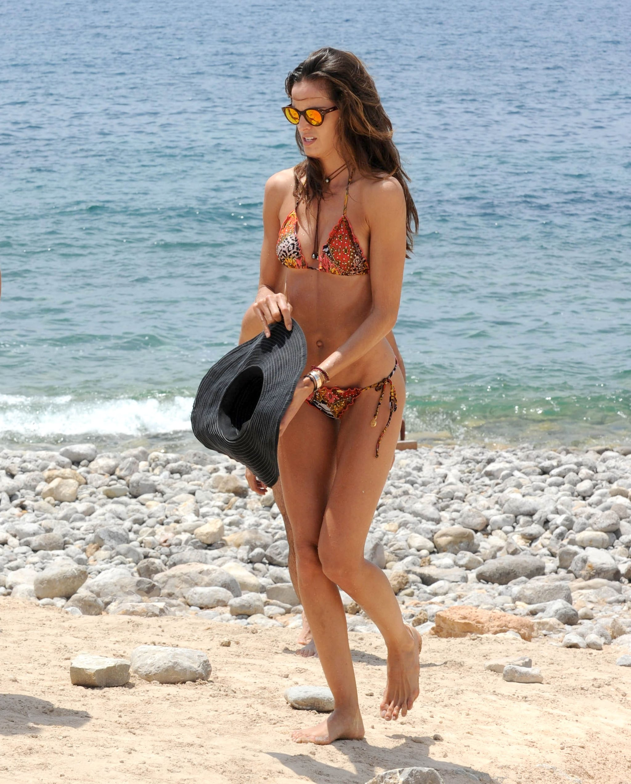 Model Izabel Goulart showed off her bikini body during a beach day in Ibiza on Monday.