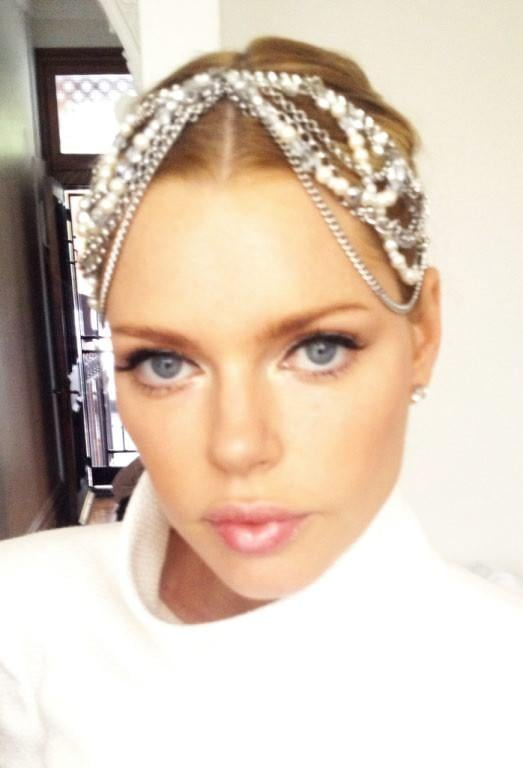 Sophie Monk sports an intricate jewelled headpiece and makeup by Napoleon. Source: Twitter user @napoleonperdis