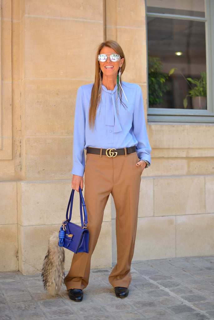 The secret to successfully pulling off Anna Dello Russo's menswear-inspired look is all in finding just the right fit.