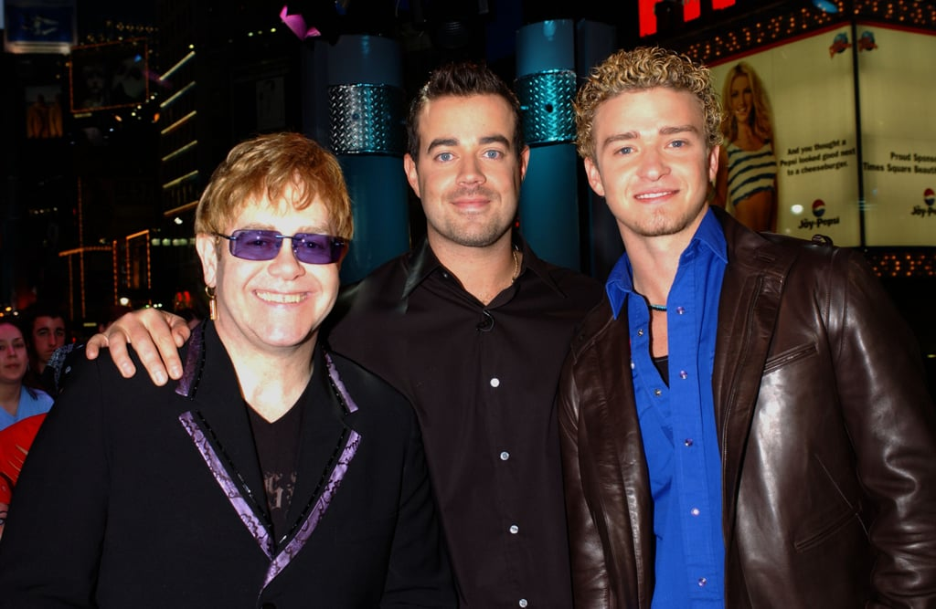Elton John and Justin Timberlake hung out with Carson Daly on TRL in 2002.