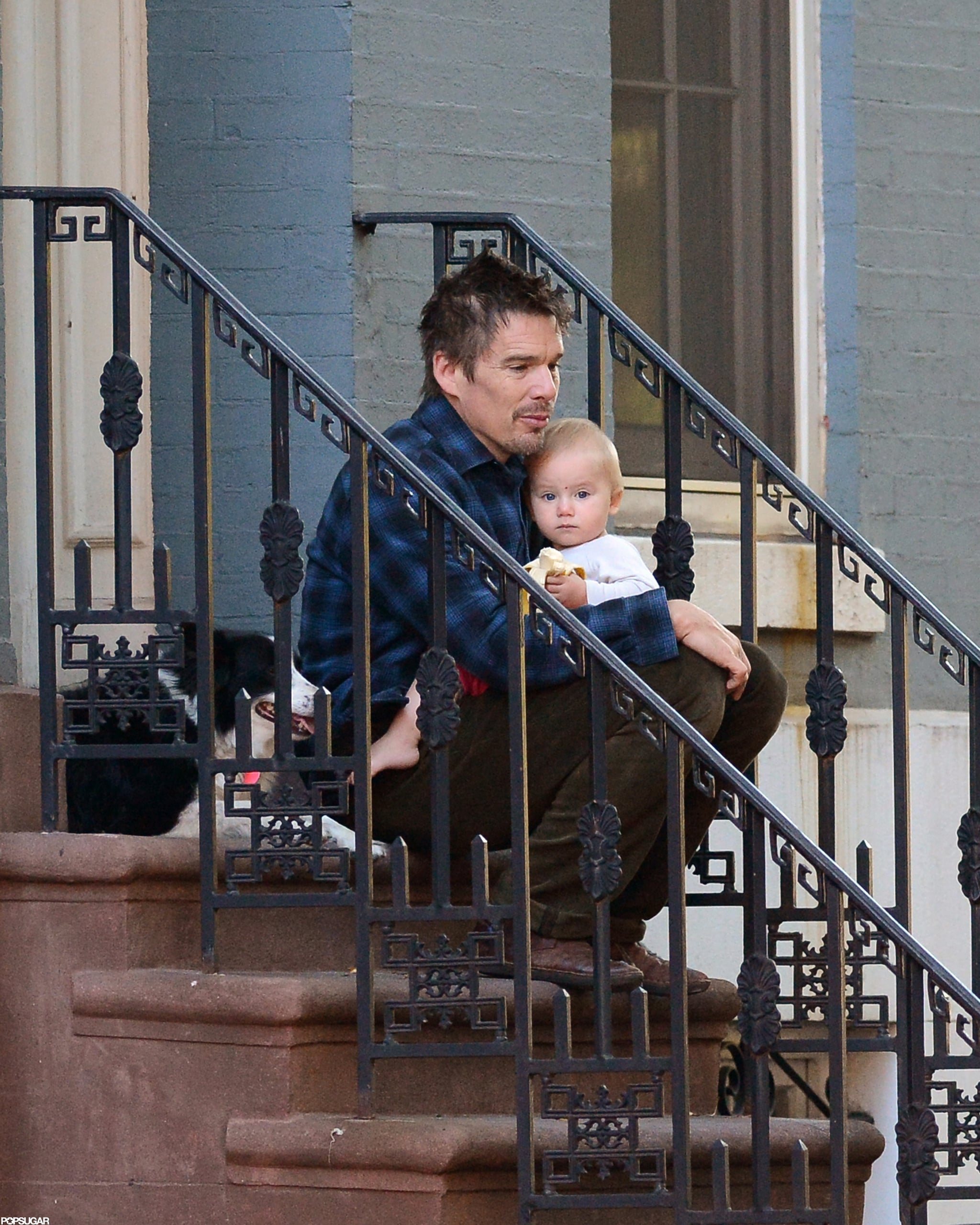 Ethan Hawke was outside with his youngest child in NYC.