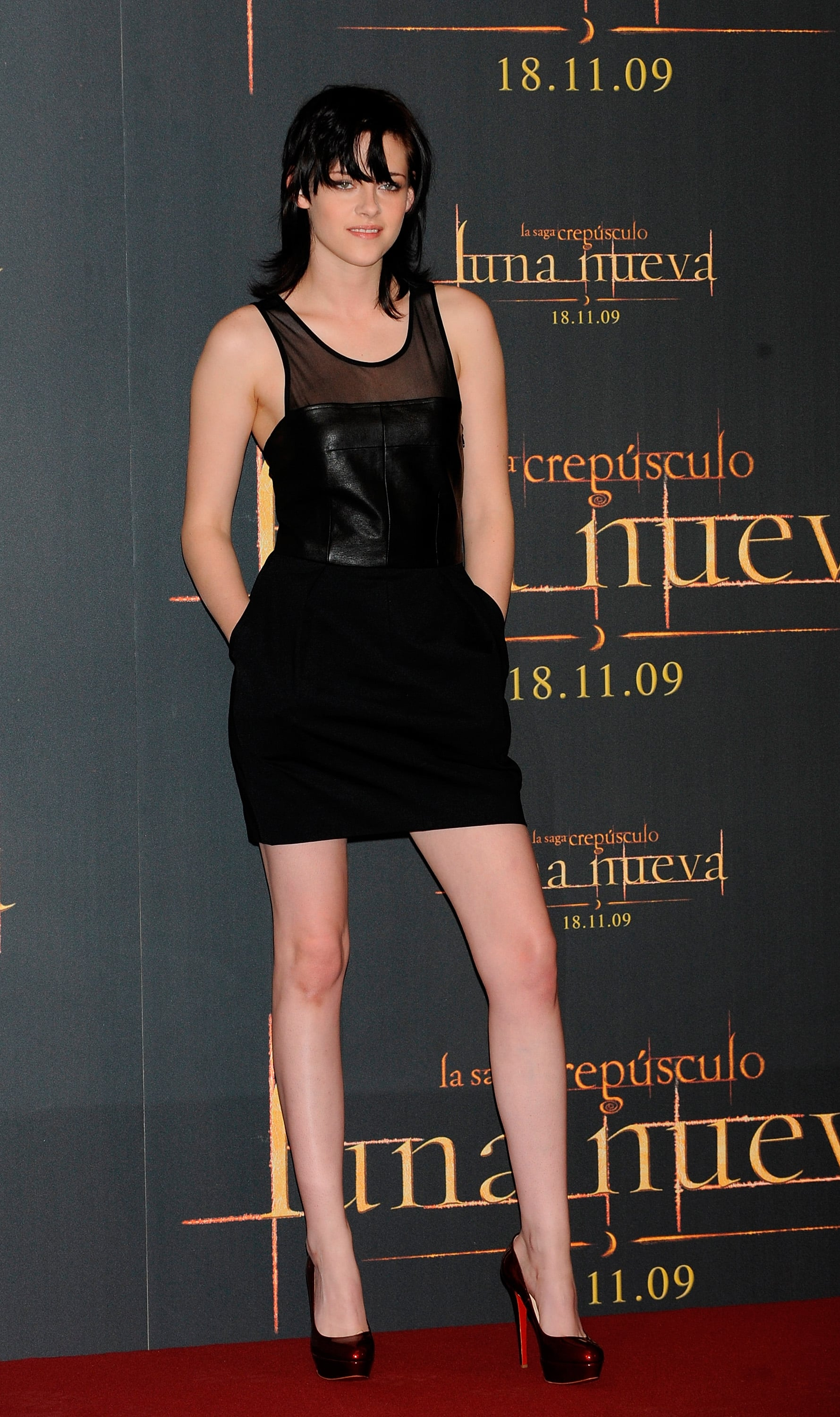 The actress opted for a sexy leather minidress by Elizabeth and James while promoting New Moon in Madrid in 2009.