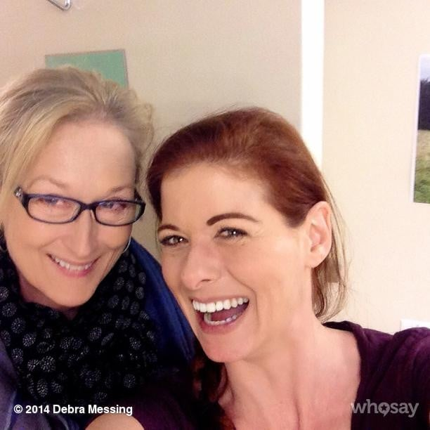 """Upon getting a visit from Meryl Streep, Debra Messing shared this photo with the caption, """"MERYL F*CKING STREEP in my dressing room!! #dead #cantspeak."""" Source: Instagram user therealdebramessing"""