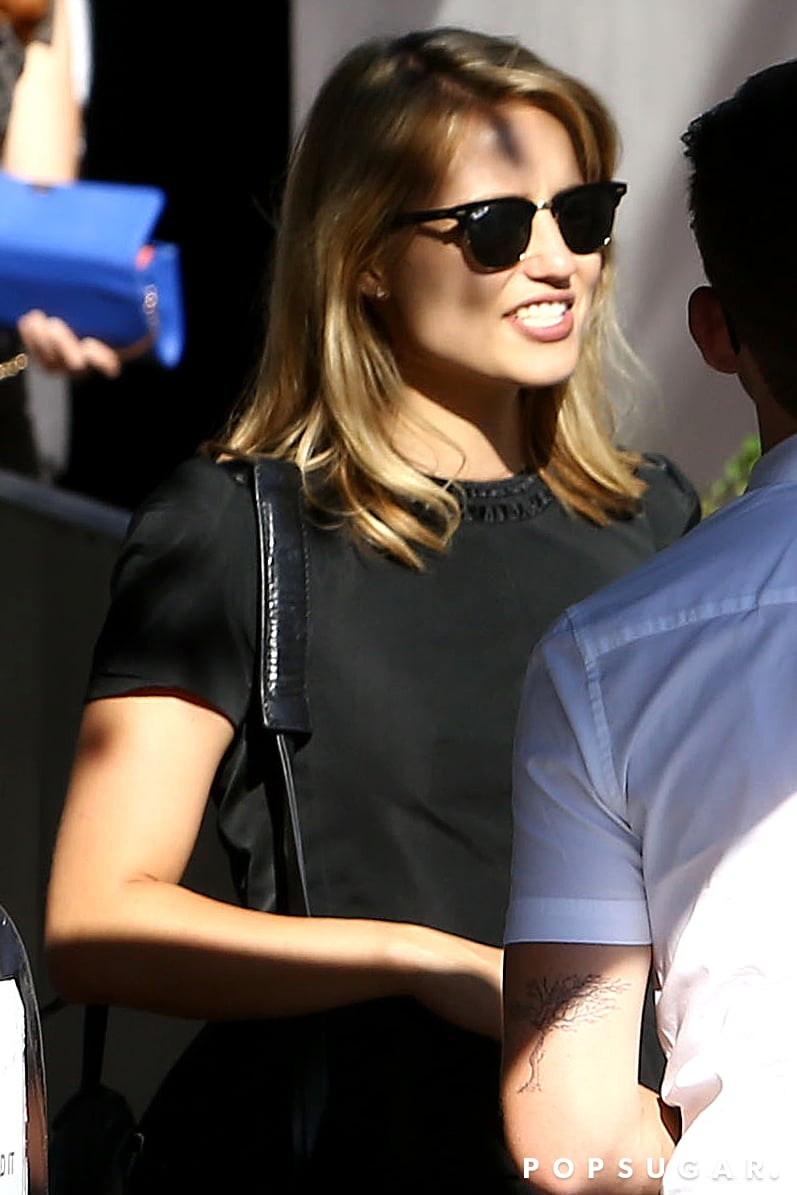 Dianna Agron wore black to Cory Monteith's memorial service.