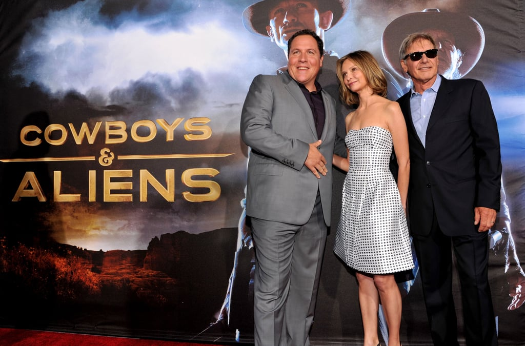 Jon Favreau snapped a photo with his stars Olivia Wilde and Harrison Ford.